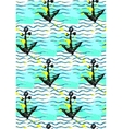 Seamless pattern with anchor and sea wave vector image
