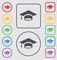Graduation icon sign symbol on the Round and vector image