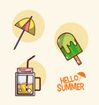 hello summer icons cartoons vector image