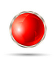 red button with silver metallic border vector image