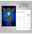 Two-sided calendar with Christmas decoration vector image