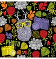 Colorful seamless pattern with cute owl with horns vector image
