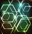 Abstract colorful neon background with hexagons vector image vector image