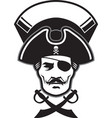 pirate captain head mascot vector image