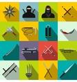 Ninja flat icons set vector image
