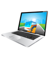 laptop and bus vector image vector image