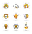 creative idea logo set with human head brain vector image