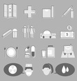 Hospital and medical icons on gray background vector image