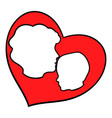 mother and child inside heart icon icon cartoon vector image
