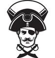 pirate captain head mascot vector image