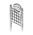 sketch draw volleyball net and ball cartoon vector image