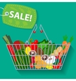 Supermarket basket of vegetables sale vector image