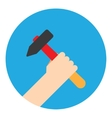 symbol hand with hammer vector image