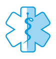 blue shading silhouette with health symbol with vector image