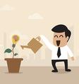 Businessman watering a light bulb idea plant vector image vector image