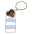 cartoon sleeping woman with thought bubble vector image
