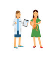 brunette woman at the veterinary doctor with her vector image
