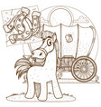 horse outline drawing for coloring of childrens vector image