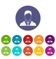 Man in business suit set icons vector image