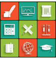 School and Education Flat Icons Set vector image