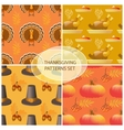 Seamless Thanksgiving day pattern with pumpkins vector image