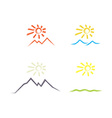 set of icons of the sun over the desert the sea vector image