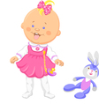 Baby girl in a pink dress learning to walk vector image vector image