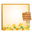 An empty template with a wooden signage vector image