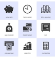 Set of black finance and money icons vector image
