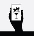 girl in martini black in hand vector image