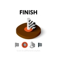 Finish icon in different style vector image