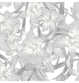 Seamless monochrome floral background with lilies vector image