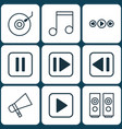set of 9 multimedia icons includes gramophone vector image