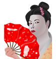 japanese girl holding fan vector image vector image