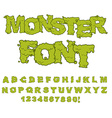 Monster font Horrible Alphabet letters of green vector image