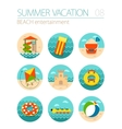 Beach entertainment icon set Summer Vacation vector image