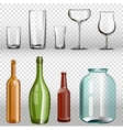 Glass bottles ans realistic transparent 3d set vector image