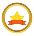 Gold star award with ribbon icon vector image