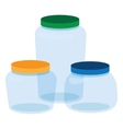Three Glass Jars Bottles Empty Transparent vector image