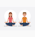 young man and woman meditating in lotus pose vector image
