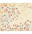Floral background on paper texture with roses vector image vector image