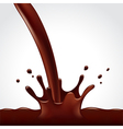 Pouring hot chocolate splash on white background vector image