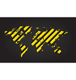 World map of yellow and black stripes danger vector image