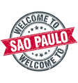 welcome to Sao Paulo red round vintage stamp vector image