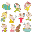 Baby Girl Cute Doodle Set vector image