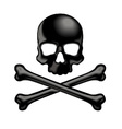 Black shaded skull and crossbones 3D icon vector image