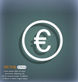 Euro icon sign On the blue-green abstract vector image
