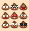 set of cute poop happy poop emoji emotional vector image