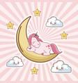 cartoon unicorn sleep moon cloud star vector image