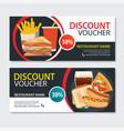 discount voucher fast food template design set of vector image